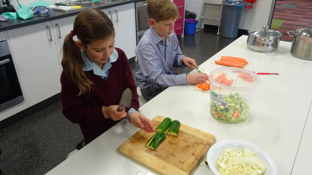 Everyone did a great job at cutting up all the vegetables. More importantly no fingers were lost in the making of the soup!